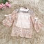 เสื้อผ้าลูกไม้ถัก สีชมพูโอรส แขนยาว คอเสื้อและปลายแขนเสื้อแต่งด้วยผ้าริบบิ้นรูปโบว์ thumbnail 7
