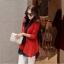 เสื้อผ้าไหมพรม แฟชั่นเกาหลี เนื้อบาง แขนยาว สีแดง thumbnail 6