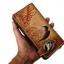 กระเป๋าสตางค์ยาว สีน้ำตาลเข้ม รูปม้าและ ช่อไม้ แบบ 2 พับ พร้อมโซ่ thumbnail 2