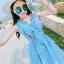 ชุดเดรสผ้าชีฟอง สีฟ้า แขนกุด คอวี thumbnail 9