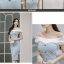 ชุดเดรสเกาหลี ผ้าโพลีเอสเตอร์ผสม สีฟ้า ไหล่และคอเสื้อเป็นผ้าชีฟองเนื้อหนาสีขาว ไหล่ป้าน thumbnail 13