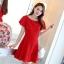 ชุดเดรสชีฟอง ชนิดหนา สีแดง ผ้านิ่มสวย ทิ้งตัวได้ดี คอระบาย thumbnail 3