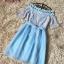 ชุดเดรสออกงาน ตัวเสื้อผ้าลูกไม้ ลายดอกไม้สีชมพู ซับในด้วยผ้าสีฟ้า ไหล่ป้าน thumbnail 13