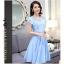 ชุดเดรสชีฟอง ผ้าเนื้อดีสีฟ้า คอเสื้อสวยมาก เป็นผ้าถักเย็บสลับกับผ้าโปร่ง thumbnail 3