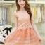 ชุดเดรสสั้น ตัวเสื้อผ้าถักลายดอกไม้ สีส้ม กระโปรงผ้าไหมแก้ว มีซับใน thumbnail 1