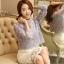 เสื้อผ้าถักโครเชต์ แฟชั่นเกาหลีมาใหม่ สีเทาอมฟ้า แขนยาว ชายปล่อย thumbnail 7