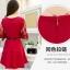 ชุดเดรสสวยๆ ผ้าคอตตอนผสม spandex เนื้อนุ่ม สีแดง แขนยาว thumbnail 6