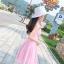 ชุดเดรสผ้าชีฟอง สีชมพูโอรส แขนกุด คอวี thumbnail 14