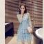 ชุดเดรสสีฟ้า ผ้าโปร่งเนื้อละเอียด ปักด้วยด้ายลายดอกไม้ thumbnail 3