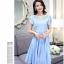 ชุดเดรสชีฟอง ผ้าเนื้อดีสีฟ้า คอเสื้อสวยมาก เป็นผ้าถักเย็บสลับกับผ้าโปร่ง thumbnail 2