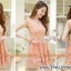 ชุดเดรสสั้น ตัวเสื้อผ้าถักลายดอกไม้ สีส้ม กระโปรงผ้าไหมแก้ว มีซับใน thumbnail 4