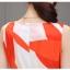 ชุดเดรสแฟชั่น ผ้าคอตตอนทอ โทนสีส้มแดง แขนกุด คอวี เดรสเข้ารูปช่วงเอว thumbnail 8