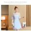 ชุดเดรสสีฟ้า ตัวเสื้อผ้าลูกไม้ปักลายใบไม้สีฟ้า เย็บต่อกับกระโปรงผ้าชีฟองเนื้อดีสีฟ้า thumbnail 8