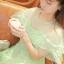 ชุดเดรสเจ้าหญิง ผ้าไหมแก้ว สีเขียว ปักลายดอกไม้สีเขียว thumbnail 6