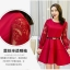 ชุดเดรสสวยๆ ผ้าคอตตอนผสม spandex เนื้อนุ่ม สีแดง แขนยาว thumbnail 4