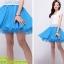 ชุดเดรสสั้น แฟชั่นเกาหลี น่ารัก สีฟ้า เสื้อลูกไม้ สีขาว แขนสั้น กระโปรงสั้นชีฟอง ซิปข้าง เหมือนแบบ (มีรูปสินค้าจริง) พร้อมส่ง thumbnail 3