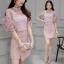 แฟชั่นเกาหลี set เสื้อ และกระโปรงสวยหวาน สีชมพูกะปิ thumbnail 3
