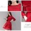 ชุดเดรสน่ารักๆ ผ้าลูกไม้ถักสีแดง แขนยาว เข้ารูปช่วงเอว กระโปรงทรงเอ thumbnail 5