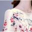 ชุดเดรสสวยๆ ผ้าซาติน สีครีม เนื้อเงาสวย พิมพ์ลายดอกไม้ โทนสีแดง thumbnail 11