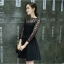 ชุดเดรสสีดำสั้น ตัวเสื้อผ้าถักโครเชต์ลายดอกไม้ แขนยาว thumbnail 4