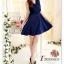 DRESS ชุดเดรสแฟชั่น ผ้าชีฟอง สีน้ำเงิน ใส่ทำงาน สม็อคช่วงอกด้านหลัง ใส่ออกงานได้ น่ารักมากๆ thaishoponline thumbnail 2
