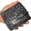 กระเป๋าสตางค์ 2 พับ หนังจระเข้เเท้ หนังต่อเย็บมือ สีดำ thumbnail 2