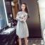 ชุดเดรสน่ารัก ตัวเสื้อผ้าถักโครเชต์ลายดอกไม้ 3 สี (เทา ครีม และชมพูกะปิ) แขนยาว thumbnail 2