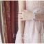 ชุดเดรสสวยๆ ตัวชุดเป็นผ้ามุ้ง สีชมพู เย็บซ้อนด้วยผ้าปักลายใบไม้ เข้ารูปช่วงเอว thumbnail 16