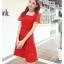 ชุดเดรสออกงาน ผ้าลูกไม้เนื้อดี เนื้อเงาสวยมากๆ สีแดง คอเสื้อทรงสี่เหลี่ยม thumbnail 4