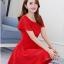 ชุดเดรสชีฟอง ชนิดหนา สีแดง ผ้านิ่มสวย ทิ้งตัวได้ดี คอระบาย thumbnail 8