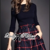 Lady Ribbon Knit Top and Checked Cotton Skirt Dress
