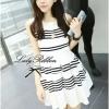 Lady Ribbon Stripe Mini Dress มินิเดรสลายขวางขาว-ดำ