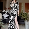 Lady Ribbon Black and White Daisy Wrap Maxi Dress