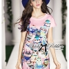 Lady Ribbon Playful Owl Printed Shift Dress in Pink