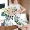 Lady Ribbon Dress เดรสแขนสั้น แต่งลายพิมพ์ดอกไม้สีเขียว