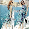 Lady Ribbon Eggplant Printed Beachwear Chiffon Maxi Dress