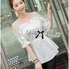 Lady Ribbon Vintage Insert Lace Cotton Blouse