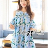 Lady Ribbon Cut-Out Flower Printed Blue Dress