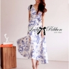 Lady Ribbon Floral Print Maxi Wrap Dress