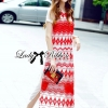 Lady Ribbon Tribal Embroidered Silk Chiffon Midi Dress