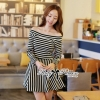 Lady Ribbon Mixed Striped Easy Dress