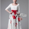 Lady Ribbon Painting Red Floral Print Midi Dress in White