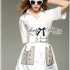Lady Ribbon Collared Embroidered Pockets White Dress