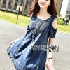 Lady Ribbon Flower Cut-Out Ripped Washed Denim Dress