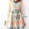 Lady Ribbon Vintage Floral Print Jacquard Mini Dress
