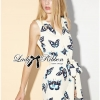 Lady Ribbon Pretty Butterfly Print Jumpsuit