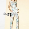 Lady Ribbon Pastel Floral Printed Sleeveless Jumpsuit