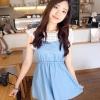 Cherry KOKO เดรสผ้าฝ้ายสีฟ้า ตัดต่อผ้าฉลุลายดอก