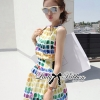 Lady Ribbon Lady Coco Chanel Colorful Painting Dress Set