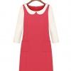 Cherry Dress เดรส ผ้าชีฟองเนื้อผสม สีชมพู